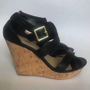 Le Château Black Cork Wedge Sandals